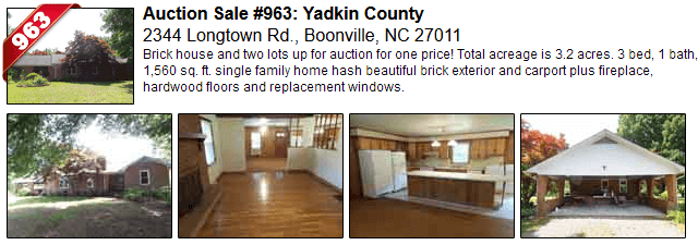 Auction Sale #963: Yadkin County - 2344 Longtown Rd., Boonville, NC 27011