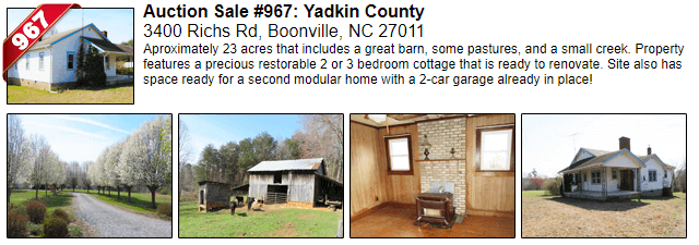 Auction Sale #967: Yadkin County - 3400 Richs Rd, Boonville, NC 27011