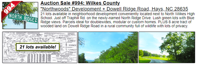Auction Sale #994: Wilkes County - Northwoods Development + Dowell Ridge Road, Hays, NC 28635