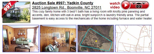 Auction Sale #997:  Yadkin County - 2825 Longtown Rd., Boonville, NC 27011